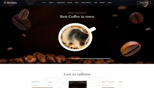 Joomla Restaurant Template for Cafe, Bakery, Seafood, and Vegetarian Sites