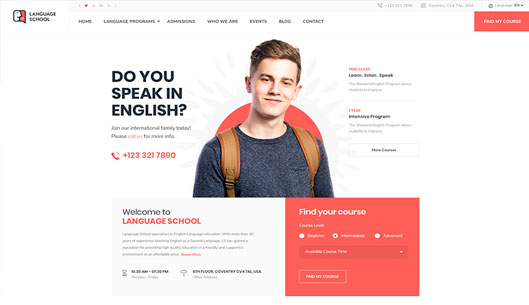 Language Institute, Club, and Coaching Joomla Template