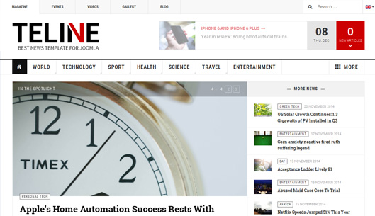 A Teline V is the best Joomla template for Magazine and News site